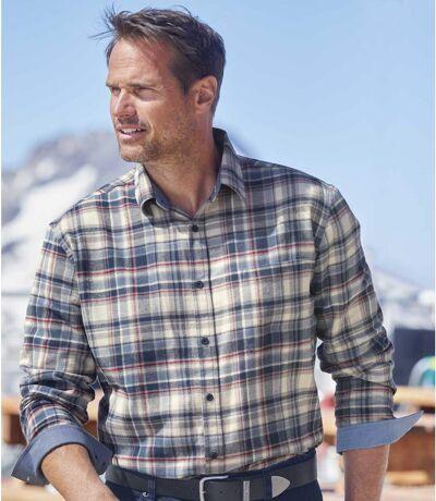 Kostkovaná flanelová košile sdetaily z tkaniny chambray
