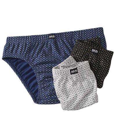 Pack of 3 Men's Patterned Briefs - Blue Black Grey