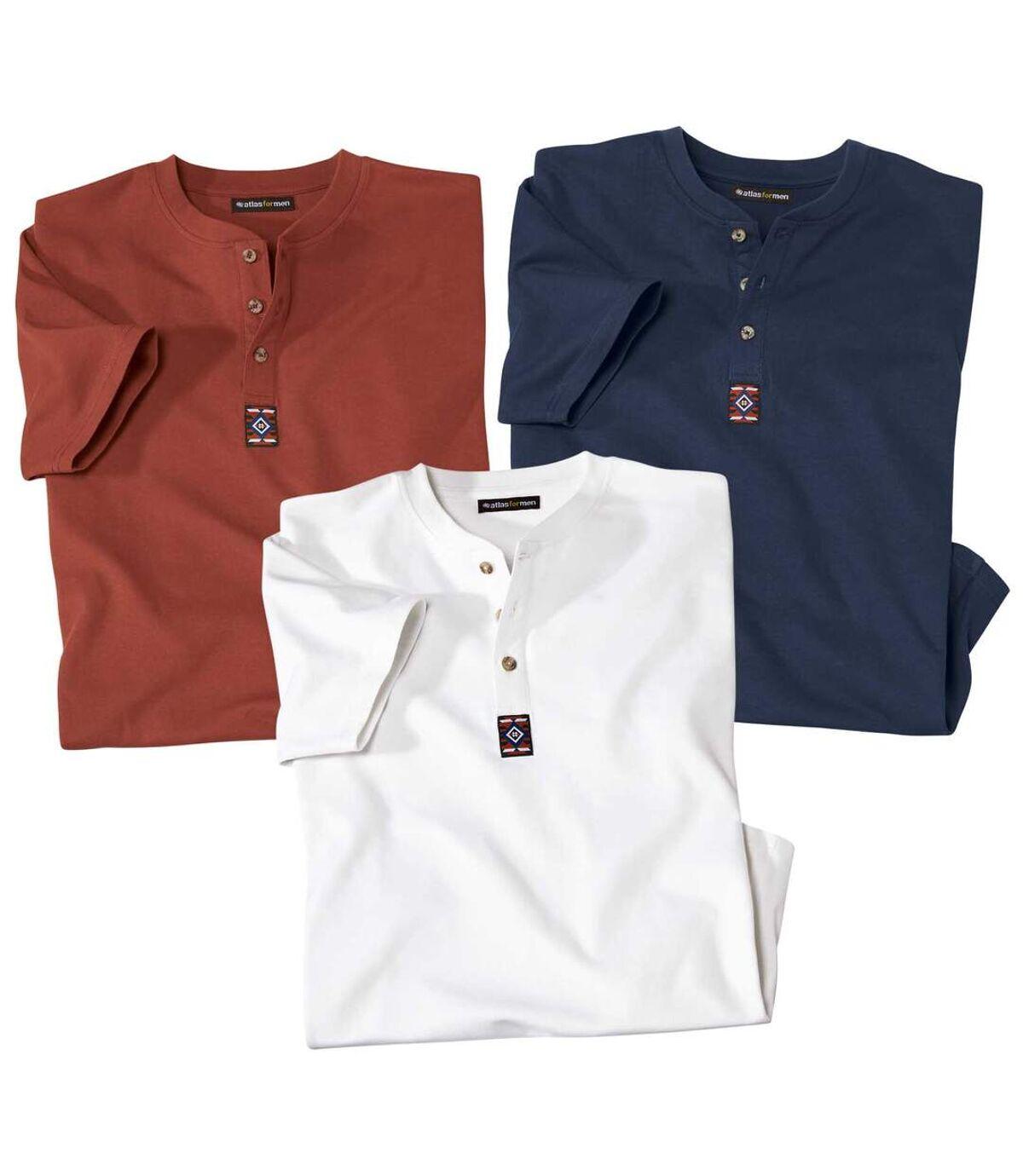 Pack of 3 Men's Button-Neck T-Shirts - Ecru Red Navy Atlas For Men