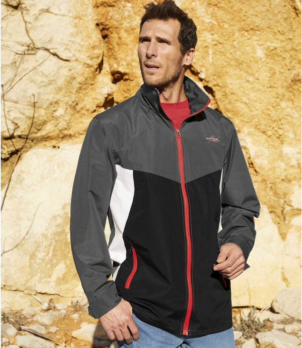 Men's Sporty Full Zip Windbreaker - Water-Repellent - Foldaway Hood - Grey White Black Atlas For Men