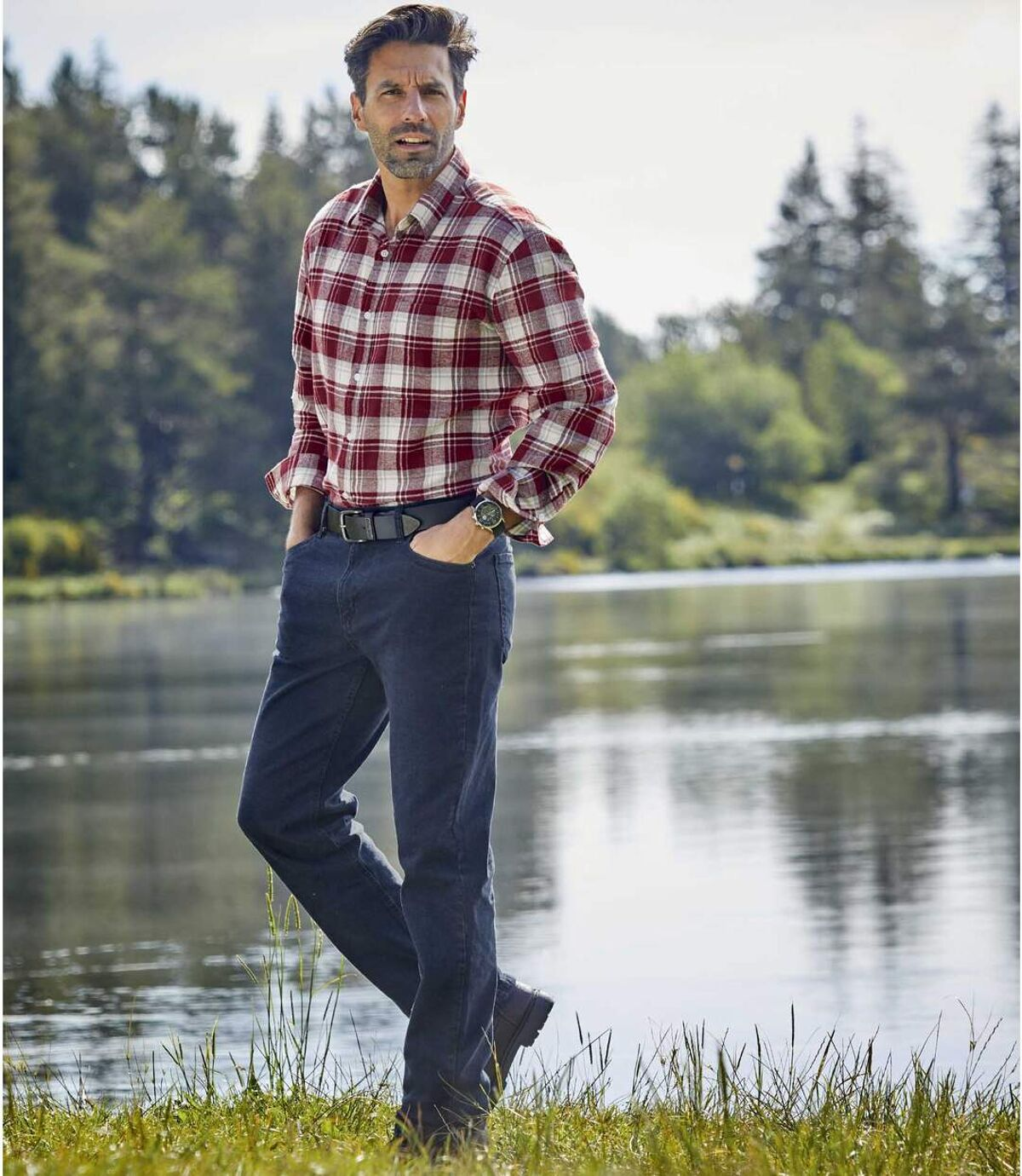 Modré strečové džíny rovného střihu Regular Atlas For Men