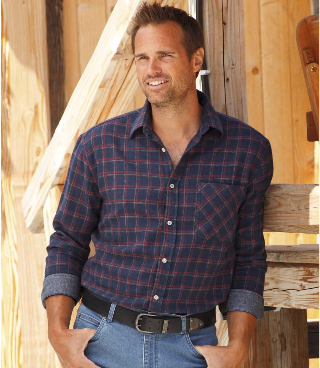 Men's Blue Checked Flannel Shirt - Winter Valley