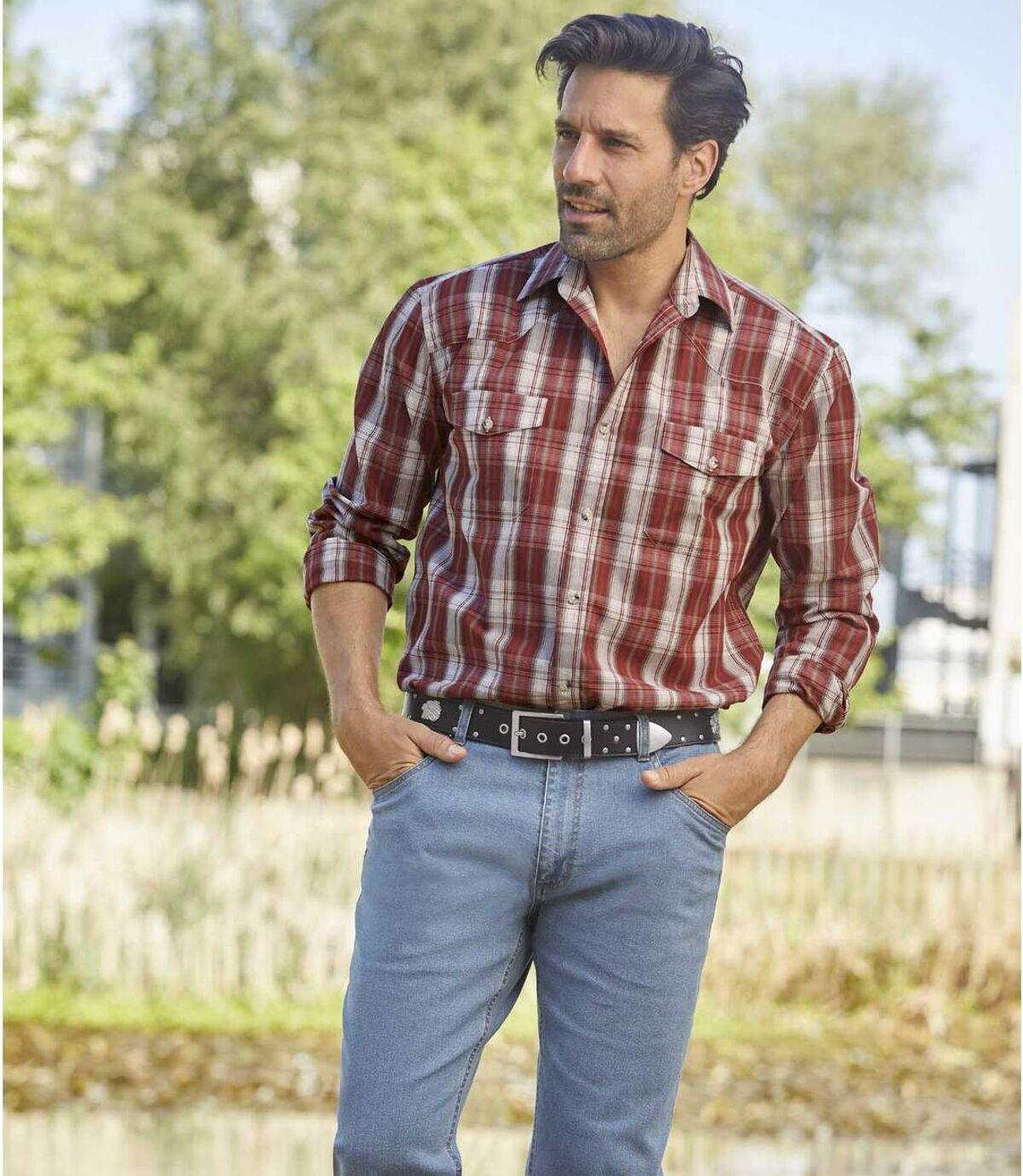 Modré strečové džíny Komfort Blue rovného střihu Atlas For Men