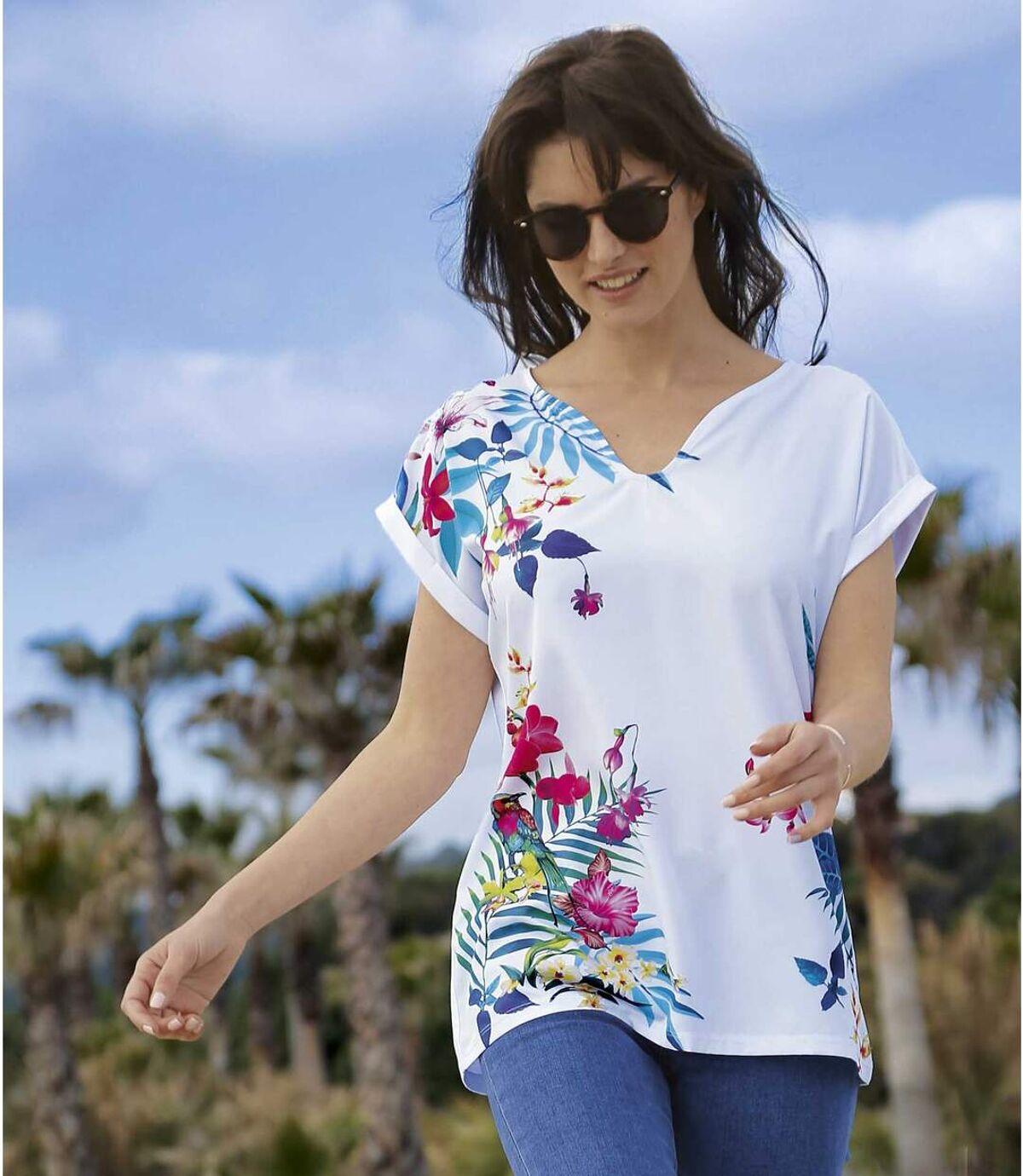 Dwumateriałowy t-shirt z tropikalnym nadrukiem Atlas For Men