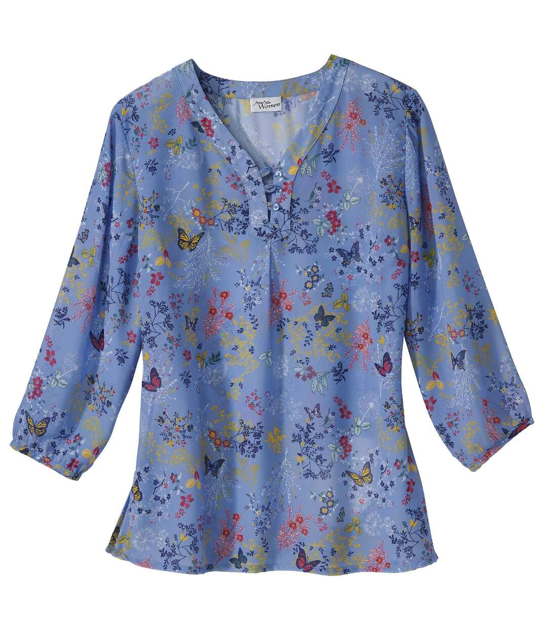 Mousselin-Bluse mit blumigem Muster