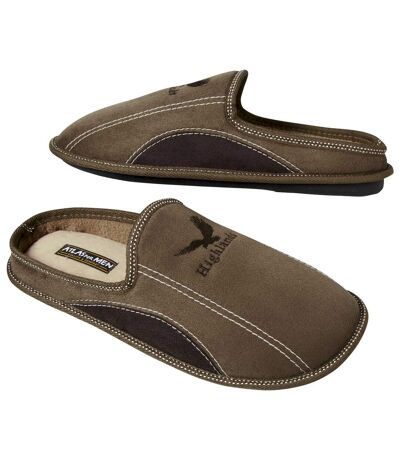 Men's Brown Relaxing Faux Suede Slippers