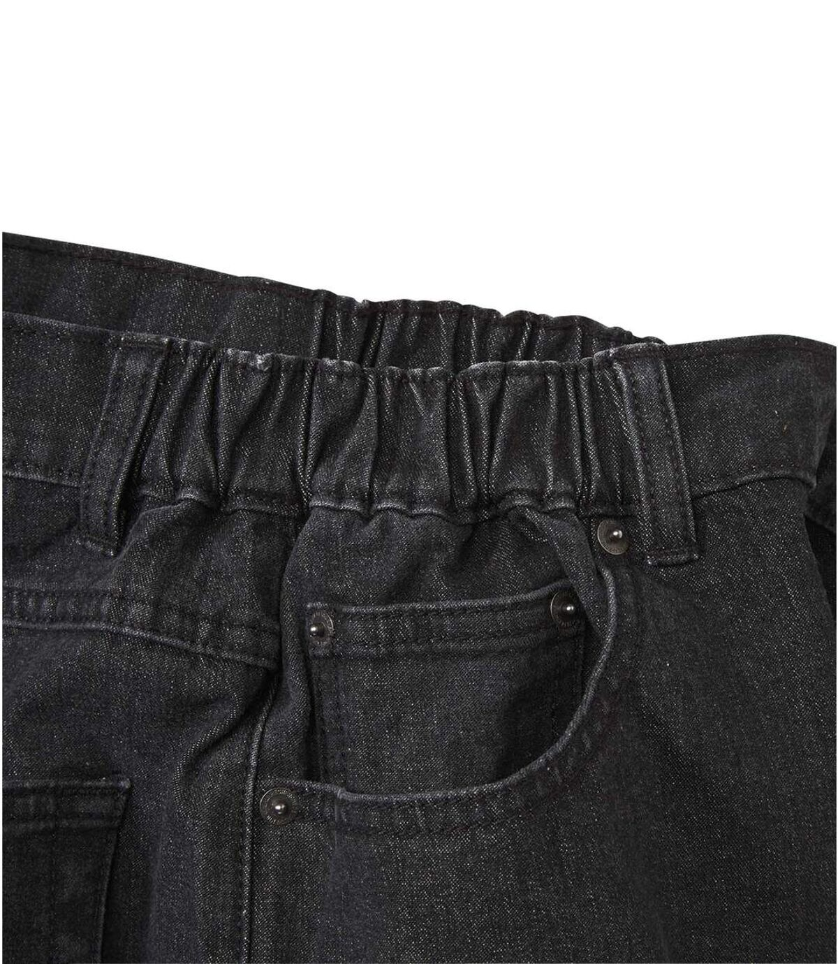 Czarne jeansy ze stretchem i półelastyczną talią Atlas For Men