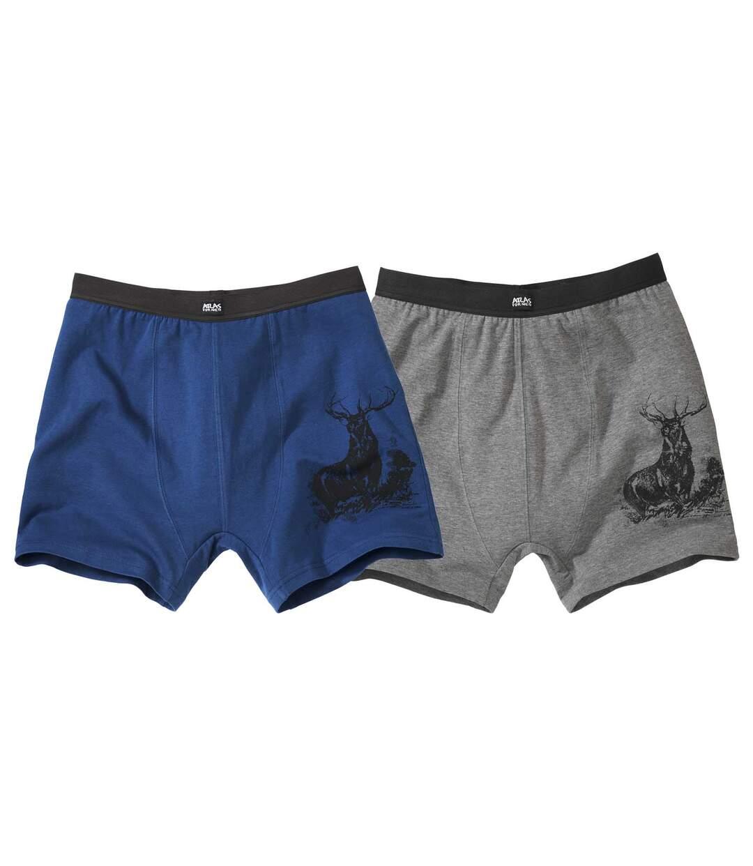 Pack of 2 Men's Comfort Boxers - Blue and Grey Atlas For Men