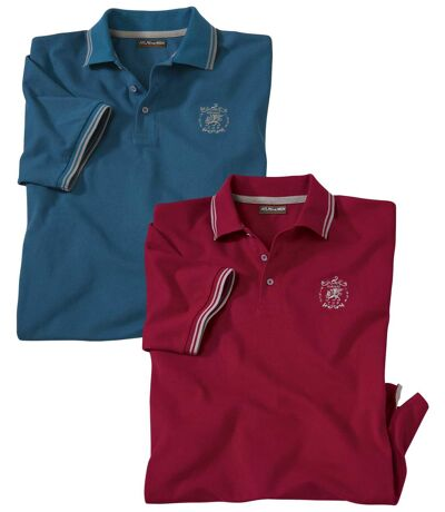 Pack of 2 Men's Piqué Polo Shirts - Blue Red