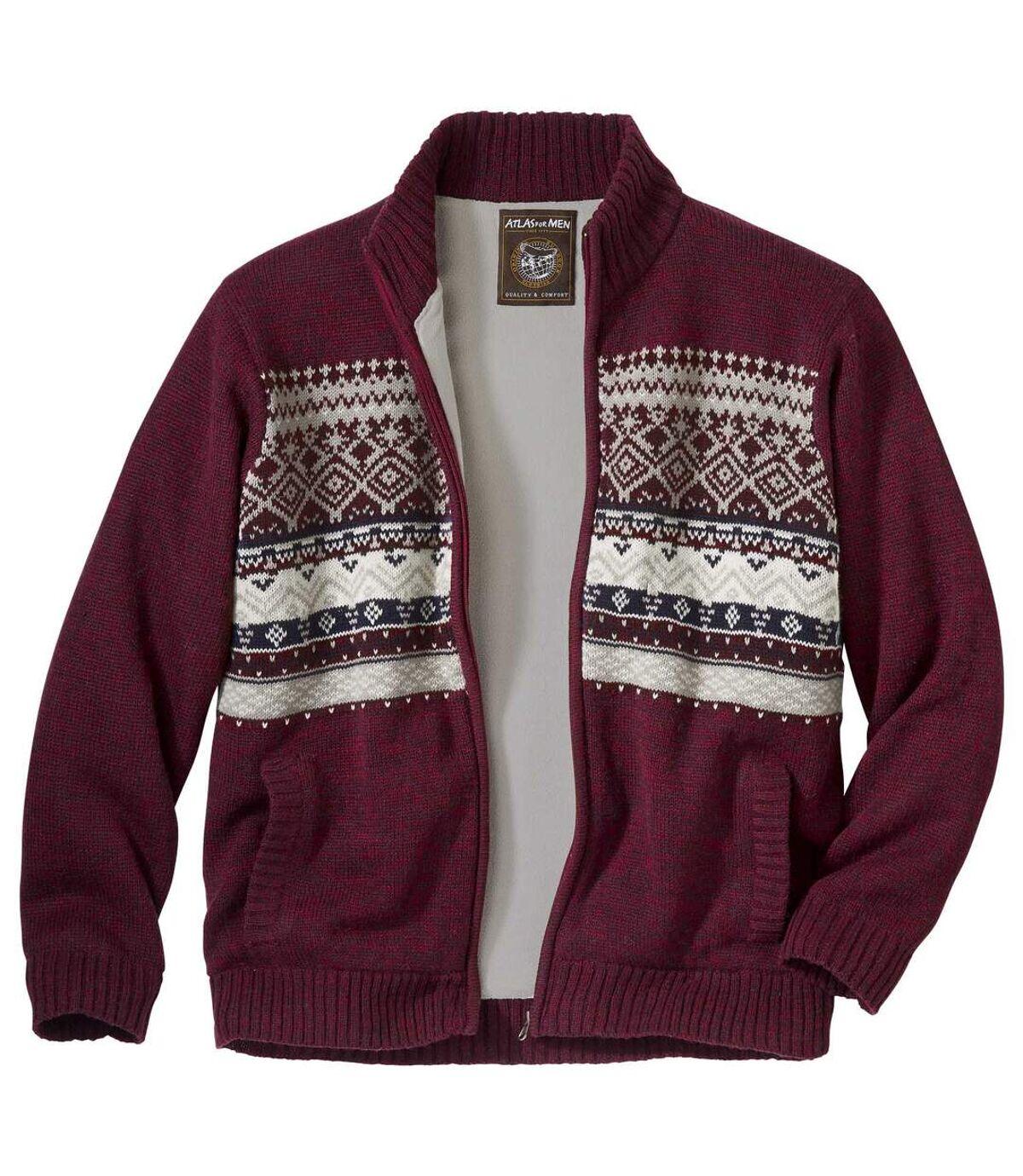 Men's Fleece-Lined Full Zip Patterned Jacket  Atlas For Men