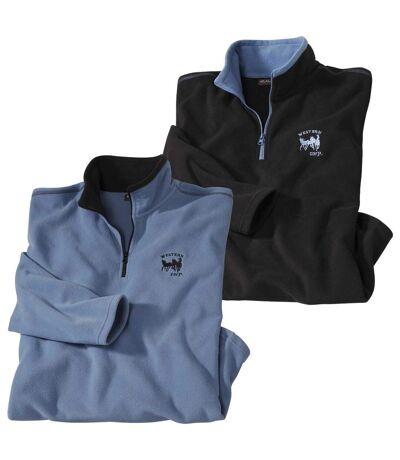 Pack of 2 Men's Half Zip Microfleece Jumpers - Black, Blue