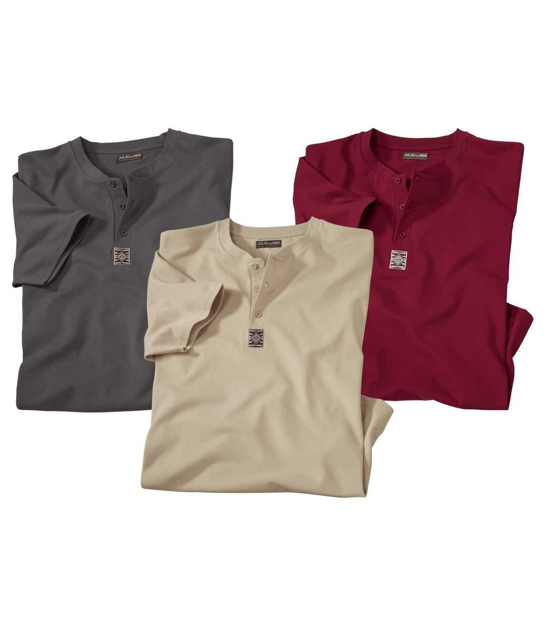 Set van 3 T-shirts met Tunesische kraag