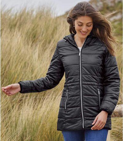 Długa, pikowana kurtka