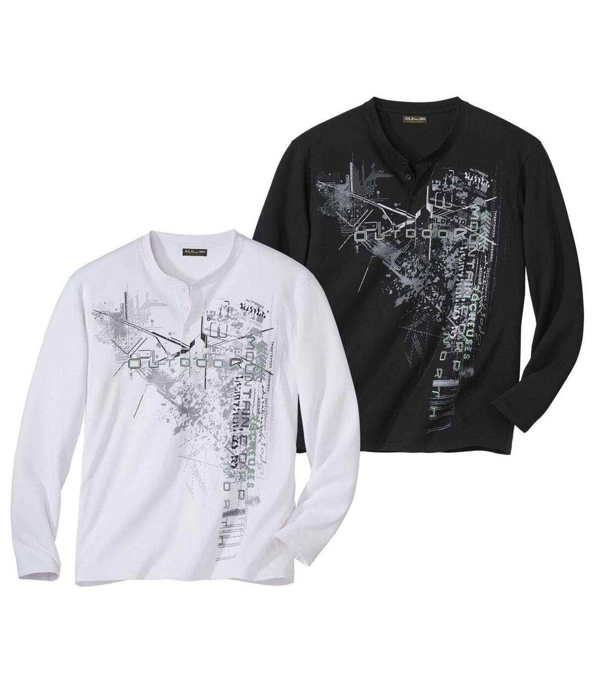 Pack of 2 Men's Graphic Print Long Sleeve Tops - Black White Atlas For Men