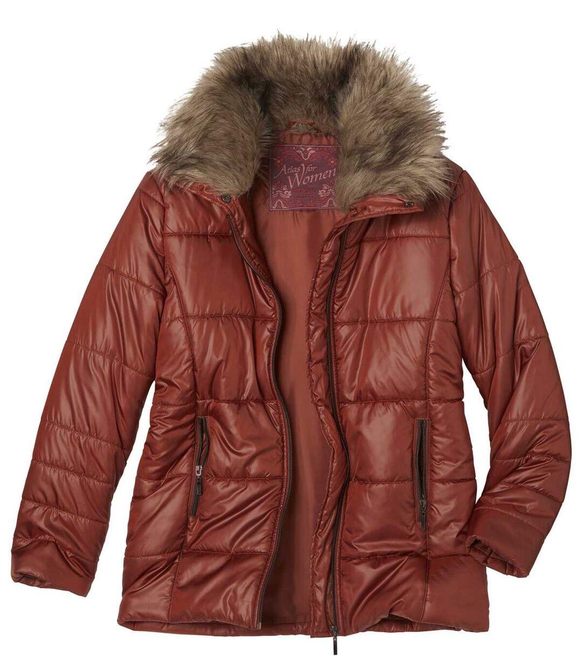 Women's Terracotta Padded Jacket with Faux Fur Collar Atlas For Men