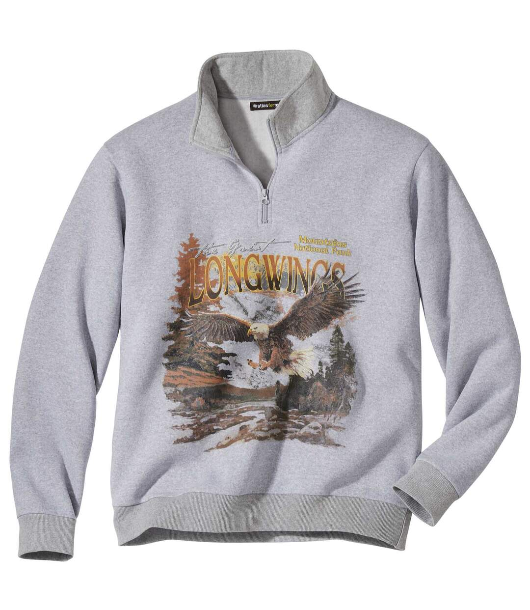 Molton sweater met rits en print Atlas For Men