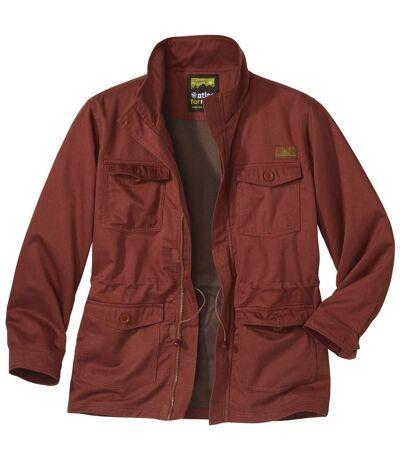 Men's Full Zip Red Safari Jacket - Arizona Valley