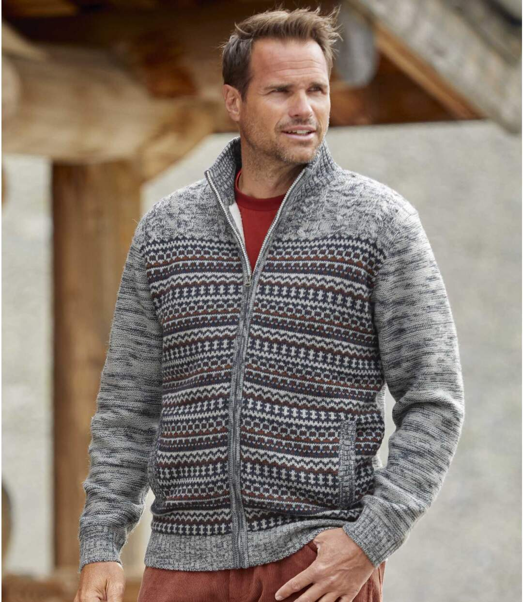 Men's Grey Patterned Knitted Jacket - Full Zip