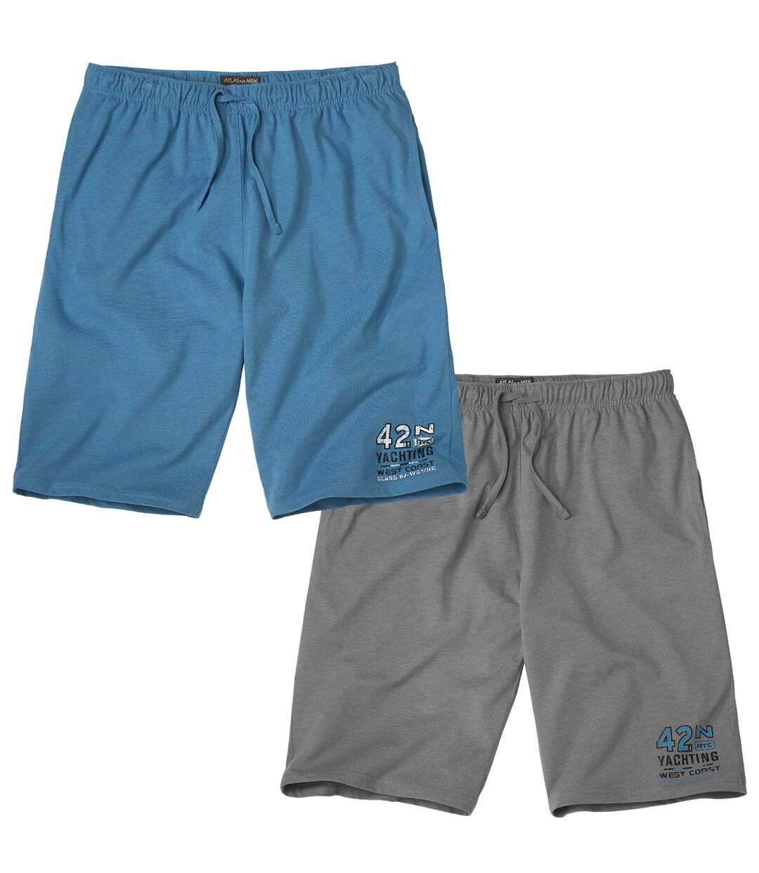 Pack of 2 Men's Yachting Bermuda Shorts - Grey Blue
