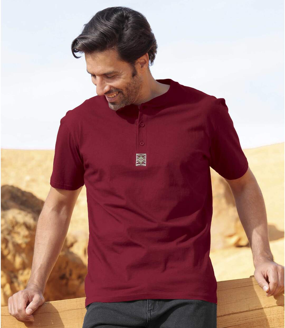 Pack of 3 Men's Essential T-Shirts - Red Grey Beige