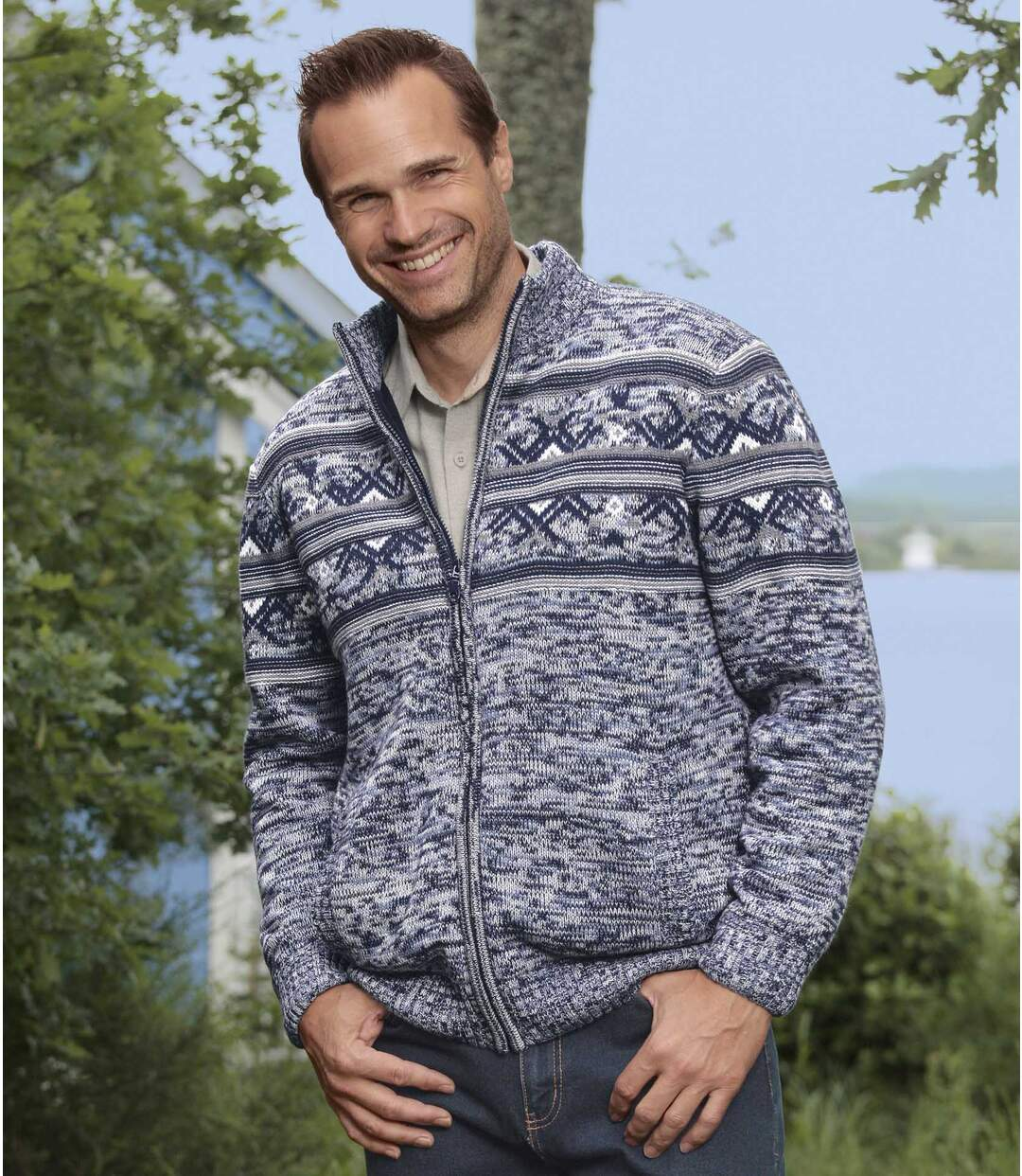 Men's Blue Nordic Knitted Jacket with Fleece Lining