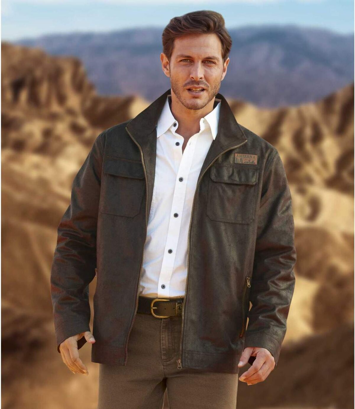 Men's Full Zip Brown Faux Suede Jacket - Distressed-Look Atlas For Men