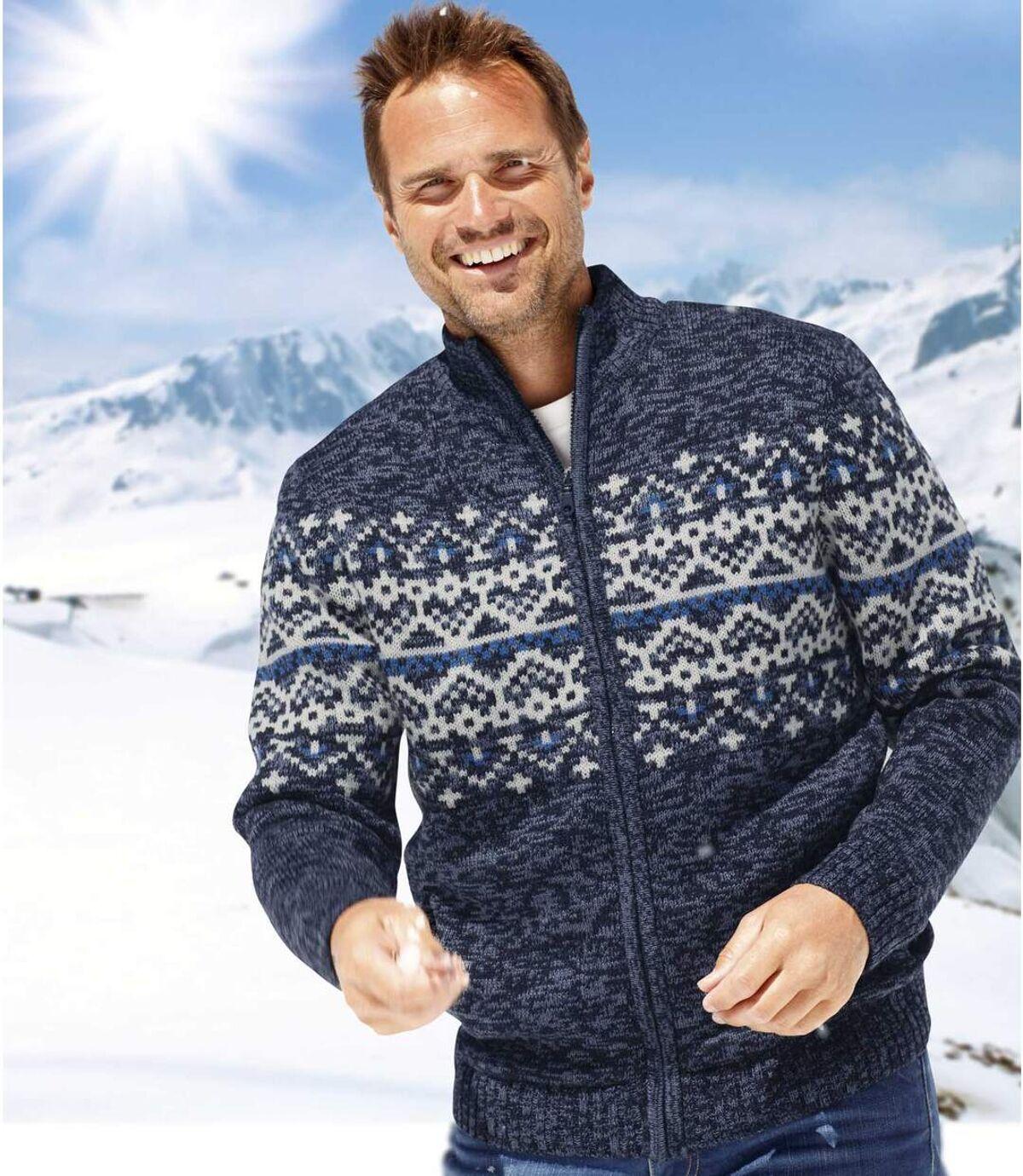 Pletený svetr sžakárovým vzorem zateplený umělým beránkem Atlas For Men