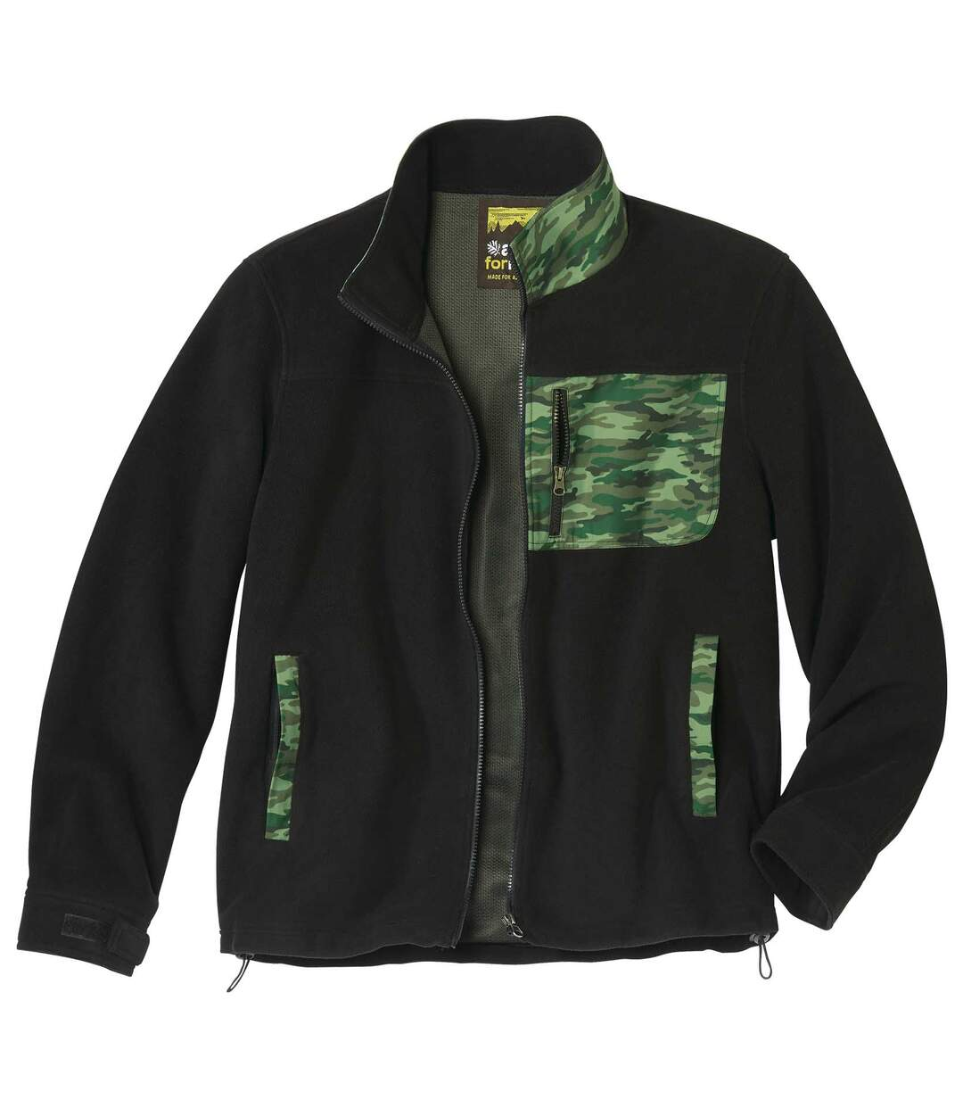 Men's Black Camouflage Fleece Jacket - Full Zip