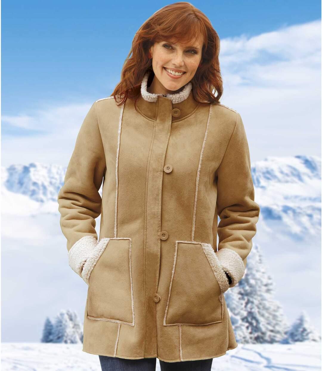 Płaszcz ze sztucznego zamszu podszyty kożuszkiem sherpa