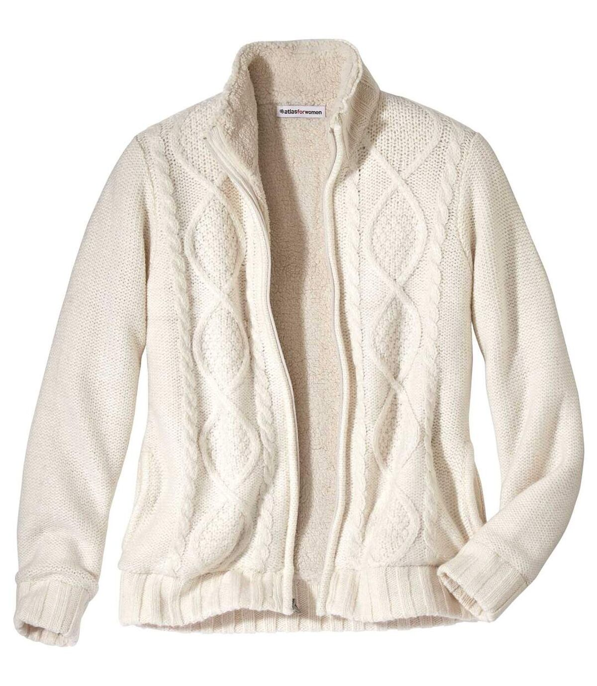 Pletená bunda scopánkovým vzorem zateplená umělým beránkem  Atlas For Men