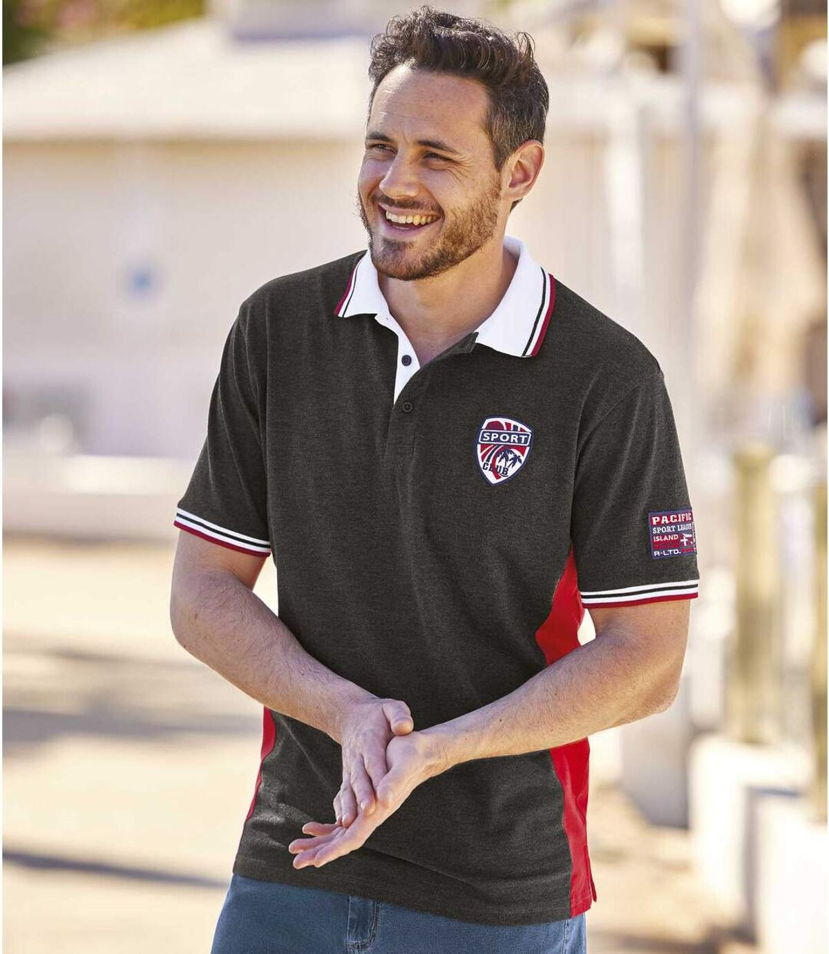 Men's Sporty Polo Shirt - Anthracite Red Atlas For Men
