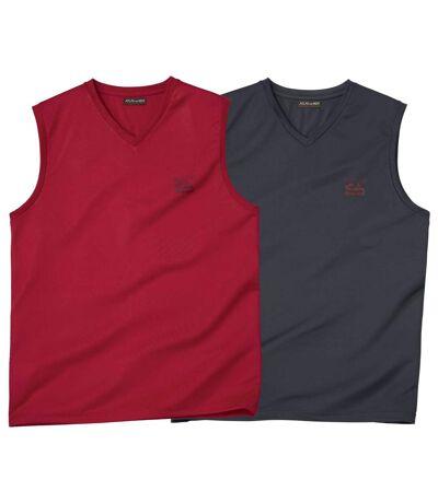 Pack of 2 Men's Tank Tops - Red Grey