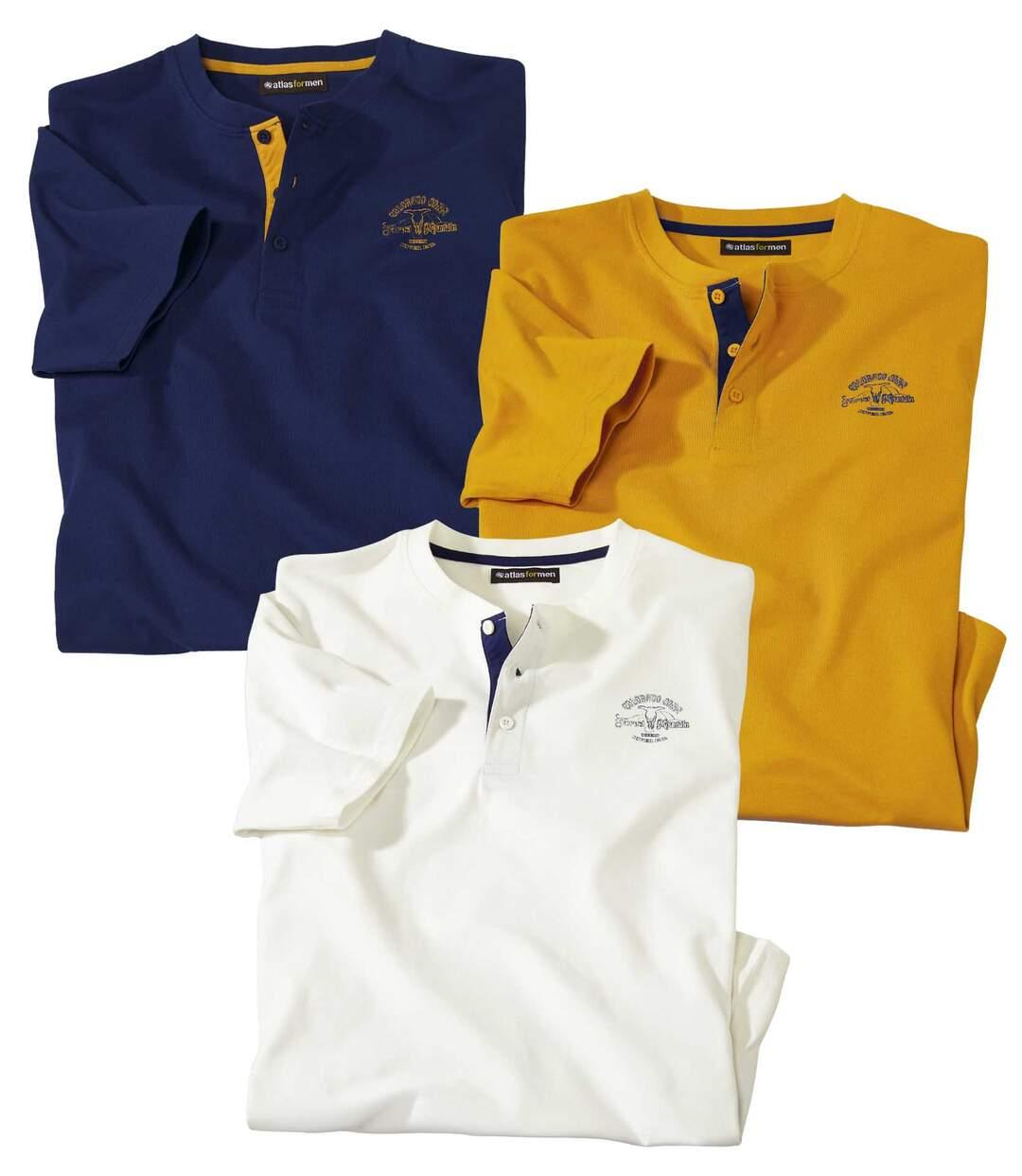 Zestaw 3 t-shirtów z dekoltem z guzikami Colorado
