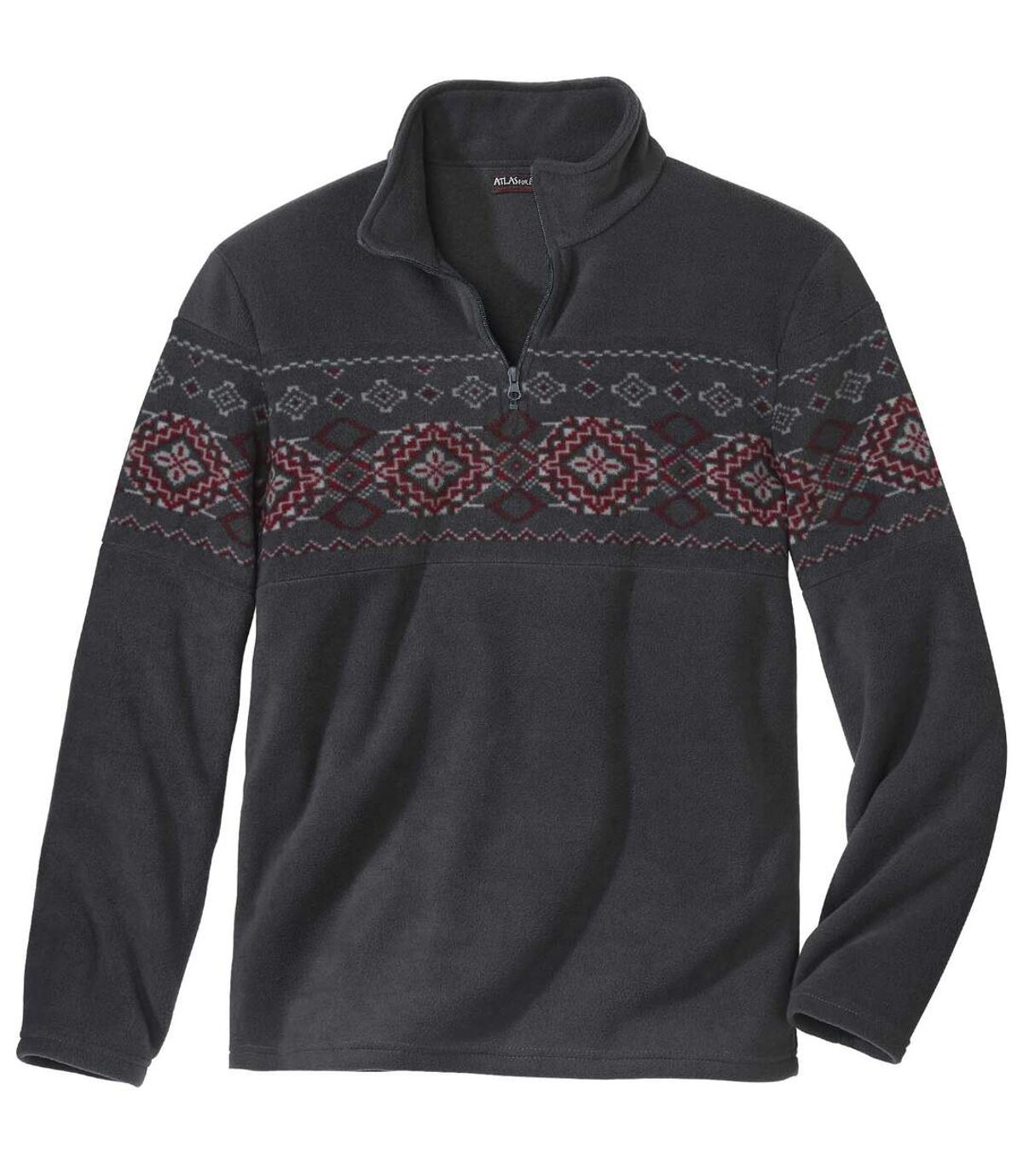 Jacquard mintás cipzáras polár pulóver Atlas For Men