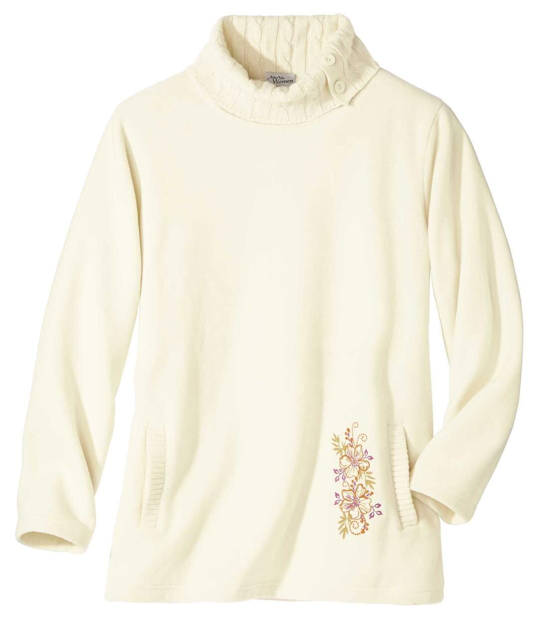 Women's Cream Fleece Jumper - Knitted Roll Neck