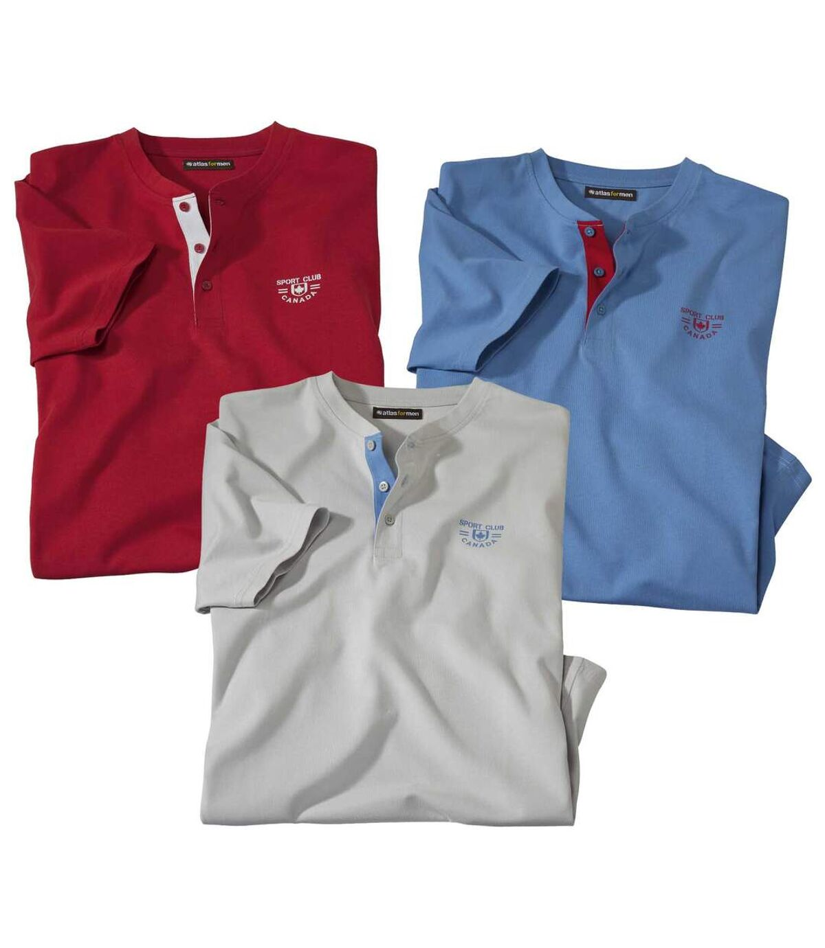 Men's Pack of 3 Tunisian-Collar Sports T-Shirts - Blue Grey Red Atlas For Men
