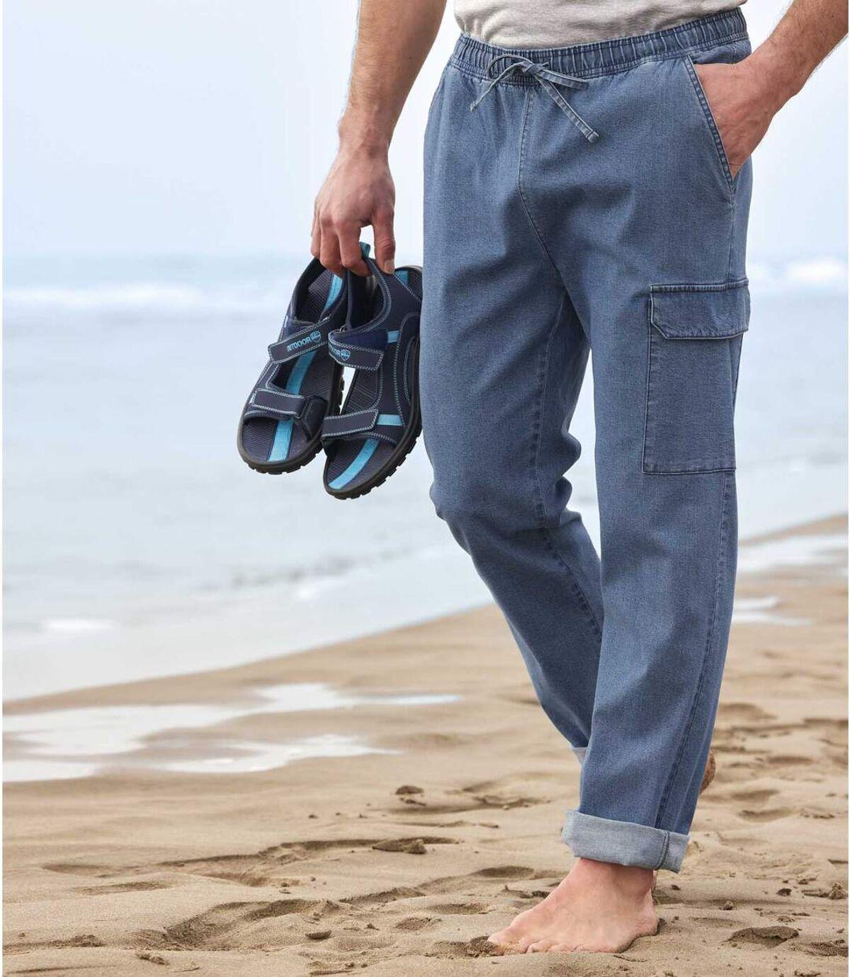 Men's Blue Denim Cargo Trousers Atlas For Men