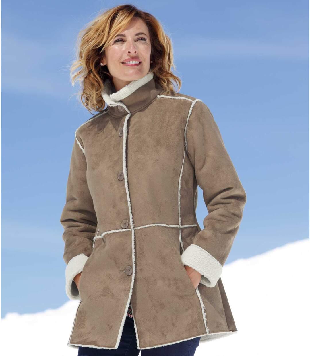 Mantel in Wildlederoptik mit Teddyfutter