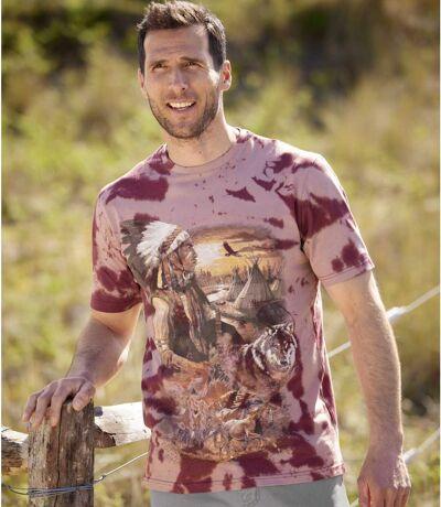 Men's Burgundy Tie-Dye T-Shirt