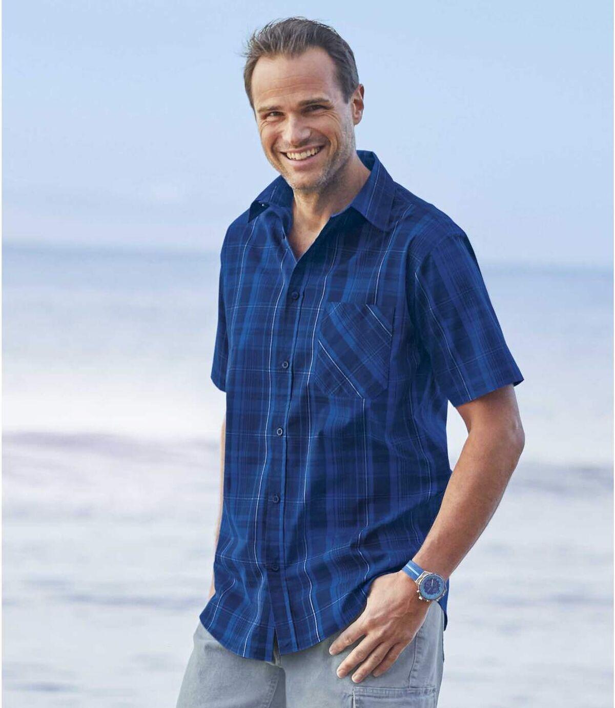Men's Blue Short Sleeve Checked Shirt Atlas For Men