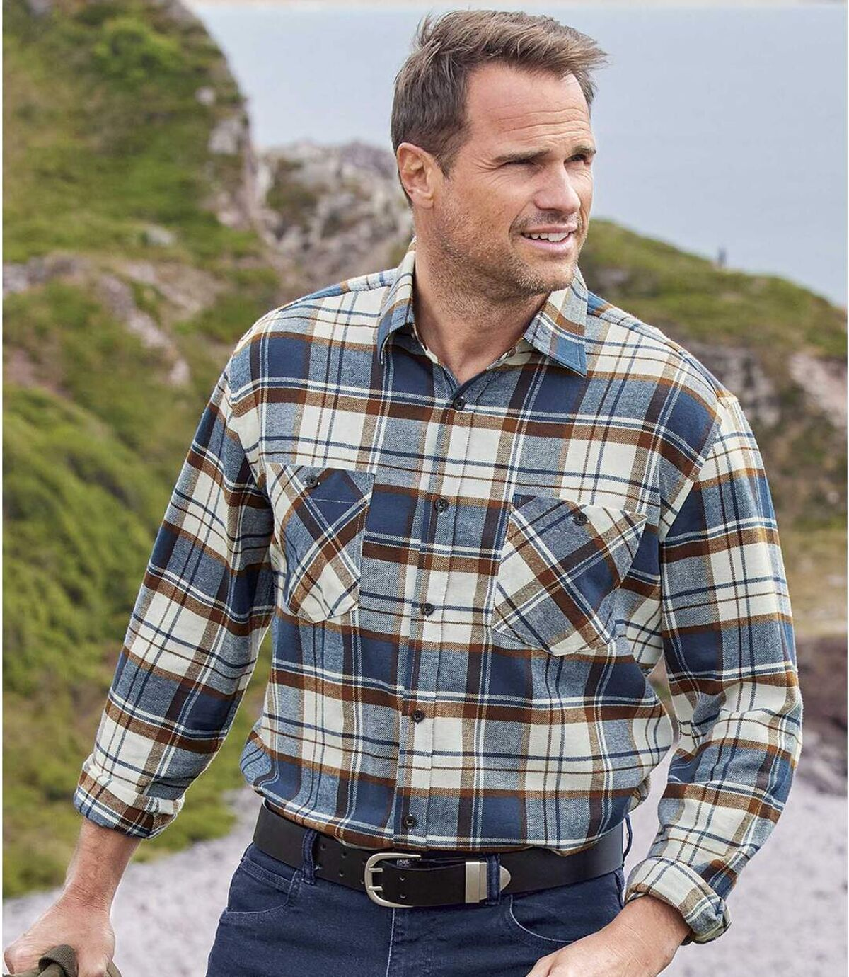 Men's Casual Checked Flannel Shirt - Navy, Brown, Ecru Atlas For Men