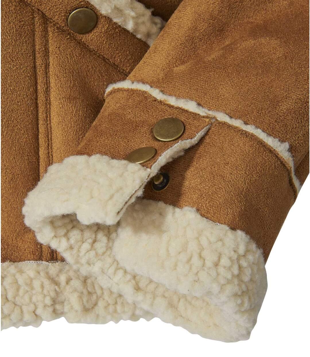 Kurtka ze sztucznego zamszu z kożuszkiem sherpa
