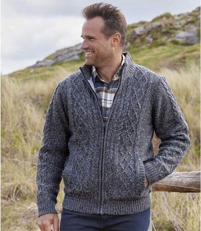 Men's Fleece-Lined Knitted Full Zip Jacket - Blue Marl