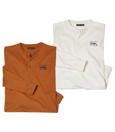 Lot de 2 Tee-Shirts Col Tunisien