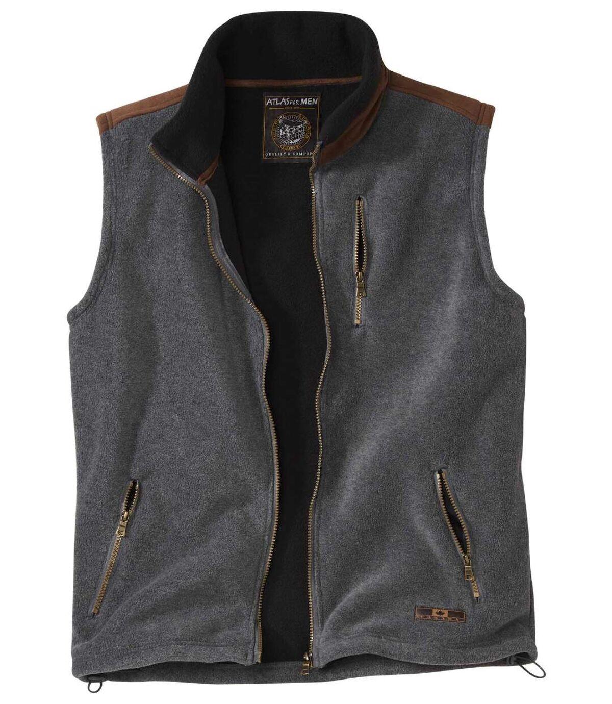 Men's Gray Sherpa-Lined Fleece Vest Atlas For Men
