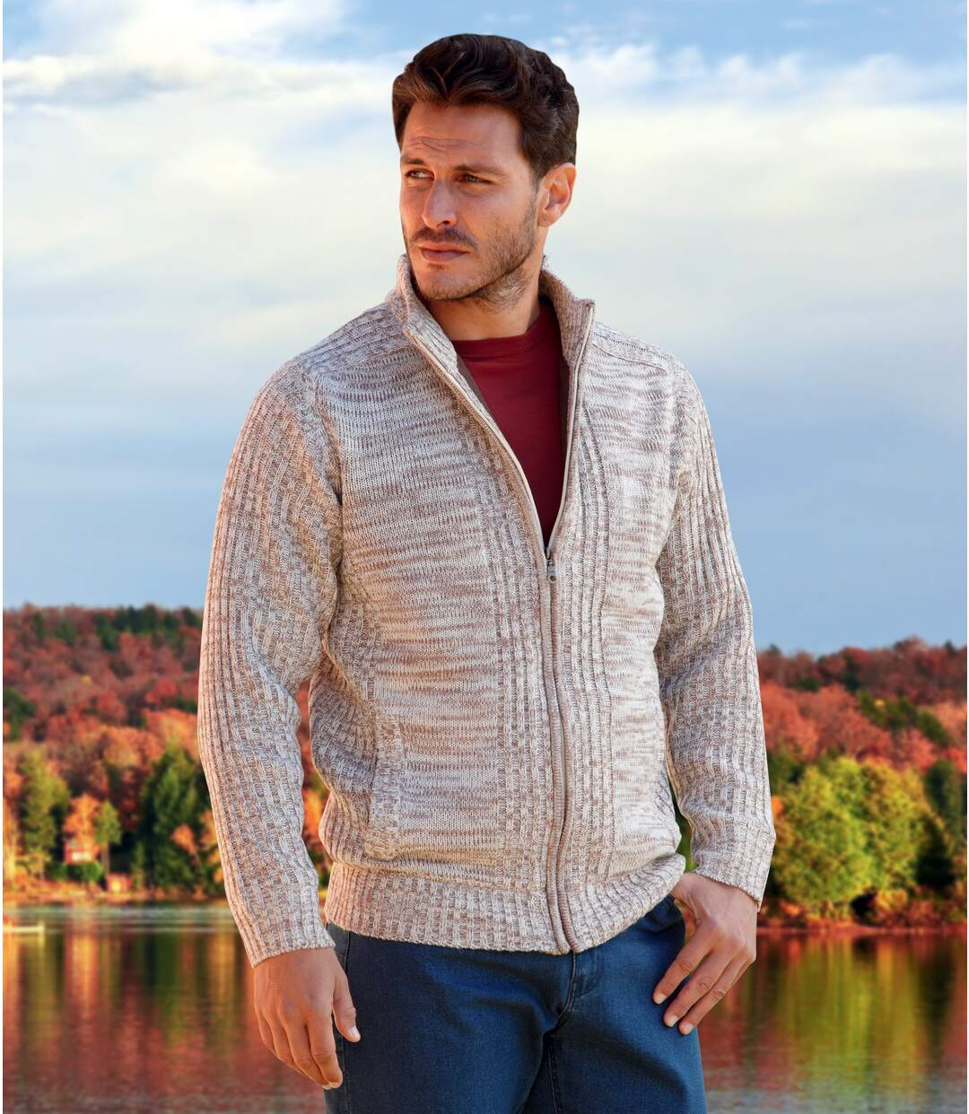 Men's Beige Fleece-Lined Knitted Jacket - Full Zip