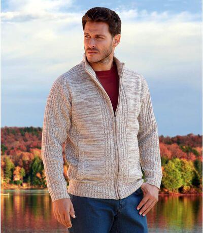 Men's Beige Fleece-Lined Knitted Jacket - Full Zip