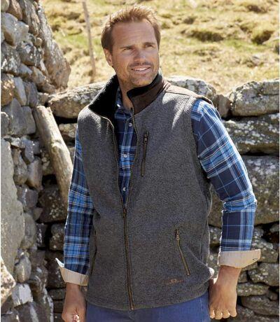 Men's Gray Sherpa-Lined Fleece Vest