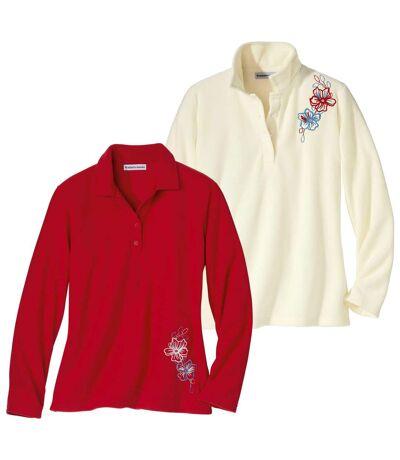 Pack of 2 Women's Microfleece Sweaters - Ecru Red