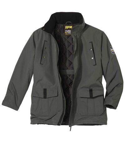Men's Warm Multi-Pocket Parka - Khaki